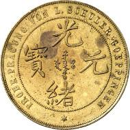 Nr. 3275: CHINA. Provinz Fengtien. 1 Dollar o. J. (1897), Probe in Messing der Firma Louis Schuler, Göppingen. Unpubliziert. Äußerst selten. Vorzüglich. Taxe: 5.000 Euro.