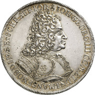 No. 4276: GERMANY. Mansfeld. John George III, 1647-1710. Reichsthaler 1710, Eisleben, on his death. Dav. 2436. From Heidelberger Münzhandlung 1 (1989), 618. Very rare. Extremely fine. Estimate: 3,000 euros.