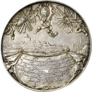 No. 5861: GERMANY. Hamburg. Hollow cast silver medal 1660 on the Dutch fortification engineer Henrik Ruse, awarded by Christian Louis, Duke of Brunswick-Lüneburg for his work on the citadel of Harburg. KPK 894. Extremely rare. Original cast, extremely fine. Estimate: 25,000 euros.