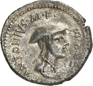 No. 7418: ROMAN REPUBLIC. C. Antonius. Denarius, 43 B. C., Apollonia (Illyria). Cr. 484/1. Very rare. Good very fine. Estimate: 20,000 euros.