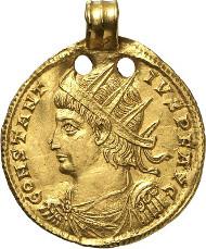 Nr. 7585: CONSTANTIUS II., 337-361. Medaillon, Aquileia. NZ 56 (1923), S. 26. Äußerst selten. Sehr schön bis vorzüglich. Taxe: 10.000 Euro.