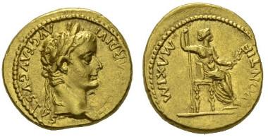 115: Tiberius. Aureus, Lugdunum, circa 14-37. RIC 27. Good extremely fine.