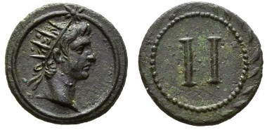118: Erotic spintriae and tesserae, time of Tiberius, tessera, circa early first century AD. Buttrey, NC 1973, B6v./II. Good extremely fine.