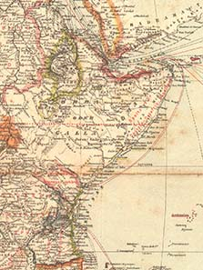 General map of Africa, as of 1887 - shown is the territory after the German-British agreement of 1886 and prior to the division of the Zanzibari mainland possession 1888. From a Brockhaus edition of 1887.