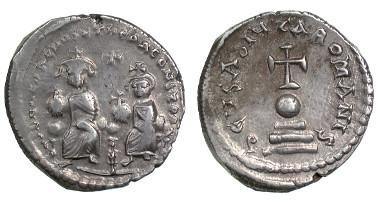 Silver hexagram of Herakleios, minted in Constantinople 613-620. © The Trustees of the Barber Institute of Fine Arts, University of Birmingham.