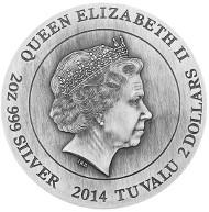 Tuvalu / 2 TVD / 2oz 999 silver / 62.27g / 40.50mm / Design: Tom Vaughan / Mintage: 1,500.