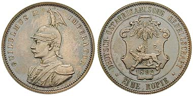Deutsch Ostafrika, 1 Rupie 1892. Ar. J. 713. Ritter, Sonderliste