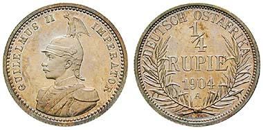 Deutsch Ostafrika, 1/4 Rupie 1904. Ar. J. 720. Ritter, Sonderliste