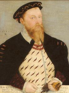 Lukas Cranach der Jüngere, Ausschnitt aus Kurfürst Moritz von Sachsen und seine Gemahlin Agnes, 1559.