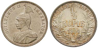 Deutsch Ostafrika, 1/2 Rupie 1904. Ar. J. 721. Ritter, Sonderliste
