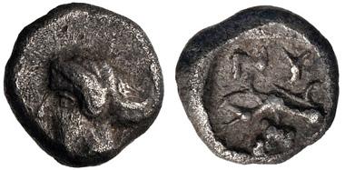 61: CIMMERIAN BOSPOROS, Nymphaion. Circa 400 BC. AR Hemiobol. MacDonald 87. VF. Estimate: $1000.