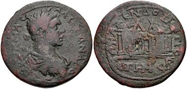 330: CILICIA, Anazarbus. Severus Alexander. AD 222-235. AE Hexassarion. Dated CY 248 (AD 229/30). Ziegler 542 (Vs1/Rs8). Fine. Estimate: $200.