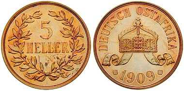 Deutsch Ostafrika, 5 Heller 1909, J. Cu. J. 717. Ritter, Sonderliste