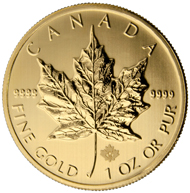 The golden Maple Leaf with its new security feature, the DNA. Photo: Royal Canadian Mint.