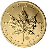 Das goldene Maple Leaf mit dem neuen Sicherheitskennzeichen, seiner DNA. Foto: Royal Canadian Mint.