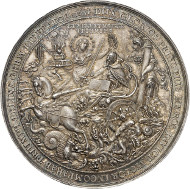 On March 13, 2014, in Künker auction sale 247, a silver medal created by Sebastian Dadler on the funeral of the Swedish King Gustavus II Adolphus at Riddarholm Church will be available for sale. The perfectly preserved showpiece, which is now part of the Baums collection, comes from the Hagander Collection and is estimated at 4,000 euros.