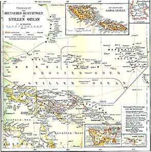 Overview of the German possessions in the Pacific Ocean. Brockhaus 1920 / Wikipedia.
