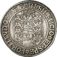 29: Altdeutschland / Brandenburg-Preußen. Johann von Küstrin, 1535-1571. Taler 1545, Krossen. Dav. 8956. Sehr selten. Sehr schön bis vorzüglich. Schätzung: 40.000 Euro. Zuschlag: 55.000 Euro.
