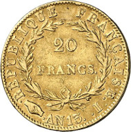 433: Frankreich. Napoleon I., 1804-1814, 1815. 20 Francs AN 13 (1804/5), Limoges. Sehr selten. Sehr schön. Schätzung: 2.000 Euro. Zuschlag: 12.000 Euro.