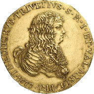 468: Italien / Retegno. Antonio Teodoro Trivulzio, 1676-1678. 10 Zecchini 1677, Retegno. Fb. 986. Sehr selten. Vorzüglich. Schätzung: 100.000 Euro. Zuschlag: 115.000 Euro.