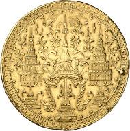 610: Thailand. Rama IV. (Mongkut), 1851-1868. 4 Baht (Tamlung) o. J. (1864), auf den 60. Geburtstag des Königs. Sehr selten. Broschierspuren und Rand bearbeitet, sehr schön. Schätzung: 7.500 Euro. Zuschlag: 44.000 Euro.