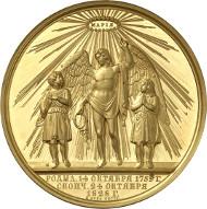702: Russland. Nikolaus I., 1825-1855. Goldmedaille zu 60 Dukaten 1828 auf den Tod seiner Mutter Zarin Maria Feodorowna. Äußerst selten. Fast Stempelglanz. Schätzung: 75.000 Euro. Zuschlag: 180.000 Euro.
