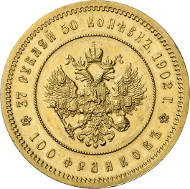 736: Russia. Nicholas II, 1894-1917. 37 1/2 roubel (100 franken), 1902, St. Petersburg. From auction sale Hess/Leu 32 (1967), 935. Mintage only 225 specs. About mint state. Estimate: 75,000 euros. Hammer price: 130,000 euros.