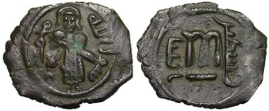Lot 6-307: Arab-Byzantine, Umayyad Caliphate. 'Abd al-Malik ibn Marwan. 65-86 / 685-705. AE Fals. Ilya Filastin (Aelia Capitolina, Jerusalem). Walker 75; SICA 731. VF. Extremely Rare. Estimate: $420.