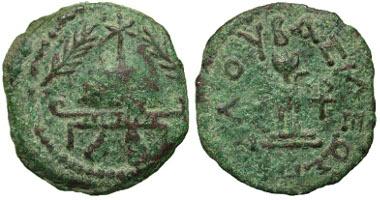Lot 6-098: Herod I. 40 B.C.E.-4 B.C.E. AE 8 prutot. Samarian mint, Year 3 = 40/39 BCE. Hendin 1169; Meshorer 44; RPC 4901. VF, green patina. Estimate: $300.