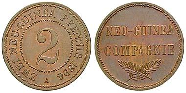 Deutsch Neuguinea. 2 Pfennig 1894, A. Cu. J. 702. Ritter, Sonderliste