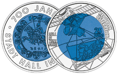 25 euro coin 2003. 700 Years Hall in Tirol. Obv. Herbert Wähner. Mintage: 50,000 specs. Photo: Austrian Mint.