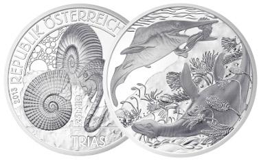 20 Euro 2013. Lebendige Urzeit / Trias. Rv. Herbert Wähner. Auflage: 50.000 Stück. Foto: Münze Österreich.
