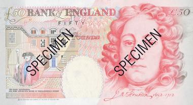 Houblon 50 pound banknote. © Bank of England.