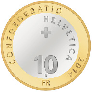 Schweiz / 10 SFR / Aluminiumbronze, Kupfer-Nickel / 15 g / 33 mm / Design: Thyl Manuel Eisenmann / Auflage: 90.000 (Unzirkuliert), 11.000 (Polierte Platte).