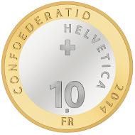 Switzerland / 10 SFR / Aluminium-bronze, Copper-Nickel / 15g / 33mm / Design: Thyl Manuel Eisenmann / Mintage: 90,000 (uncirculated), 11,000 (polished proof).