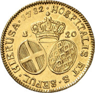 Emmanuel de Rohan, 70th Grand Master, 1775-1797. 20 scudi 1782, Valetta. From auction sale Künker 246 (11/12 March 2014), 2955. Estimate: 1,500 euros.