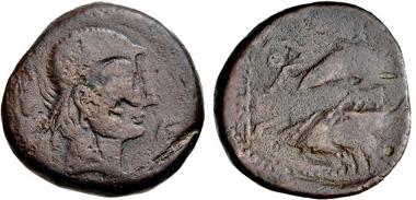 Lot: 1. IBERIA, Abdera. Early 2nd century BC. AE Unit. ACIP 868. Near Fine, obverse double struck. Estimate $75.