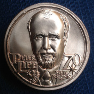 Avers der Medaille mit dem Porträt Peter Lipps.