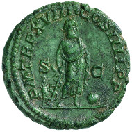 Roman Imperial Times. Caracalla (198-217). As, 215. Cuirassed bust of Caracalla with laurel wreath r., wearing the military cloak. Rev. Asclepius of Pergamum with the serpent-entwined staff standing in frontal position, Telesphorus to the left (Greek: bringer of completion), and Omphalus. © MoneyMuseum, Zürich.