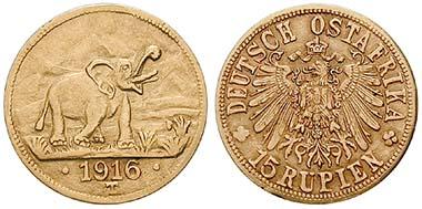 Ord. no. 45670 - 15 Rupees 1916, Tabora. J. 728a. Very fine. 2,700.- Euros.