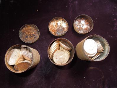 Die Münzen waren in den Dosen chronologisch gestapelt. Bild: Kagin's.