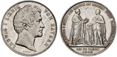 652: BAYERN. Ludwig I. Karl August. Doppeltaler, 1848 auf die Übergabe der Krone. AKS 111. vz. Zuschlag: 2.000 Euro, Ausruf: 1.000 Euro.