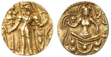 1759: INDIEN-KÖNIGREICH GUPTA. Chandragupta II. Dinar, ca. 380-414. Fried. 79b. vz-. Zuschlag: 4.400 Euro, Ausruf: 500 Euro.