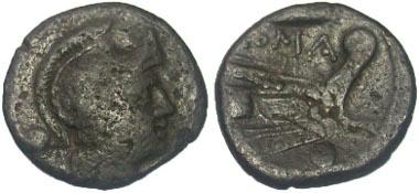 151: Roman Republic. Anonymous. Uncia, 214-212 B.C., Sicilian mint. Ex Goodman collection. Crawford 42/4. Fine, overstruck. Estimate: $60.
