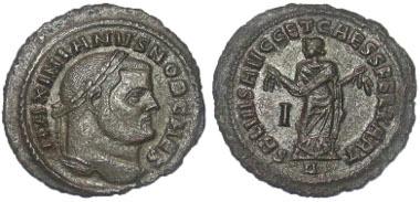 231: Roman Empire. Galerius, as Caesar. Follis, A.D. 303, Carthage. Ex William C Boyd collection, with his ticket, Ex Sotheby's 1892, Ex Baldwin's sale 42, 2005. RIC 34b. Estimate: $175.