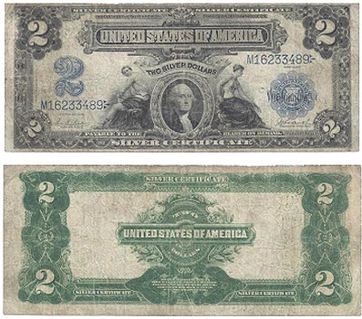 331: United States of America. Two Dollars Silver Certificate, 1899. Fine, circulated. Estimate: $210.