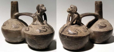 361: Chimu Whistle Vessel with Monkey from Peru, ca. 1100-1450 AD. This superb double-chambered bottle is 6-1/2