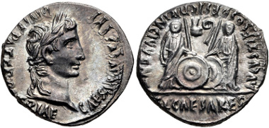 316: Augustus. Denarius, 2 BC-AD 4, Lugdunum (Lyon) mint. RIC I 207. Superb EF. Estimate $500.