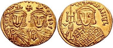 493: Constantine V Copronymus, with Leo IV and Leo III. Solidus, circa 756-764, Constantinople mint. Füeg 5.A.2. VF. Estimate $500.