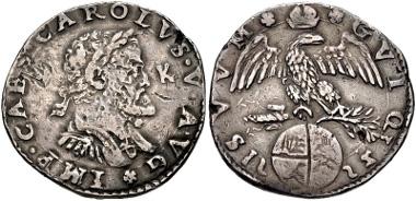705: ITALY, Milano (Duchi). Carlo I di Spagna (Carlo V, Sacro Romano Impero). Scudo d'argento, 1552. CNI V 6. VF. Estimate $500.
